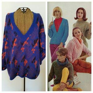 Vintage BENETTON mohair v neck sweater